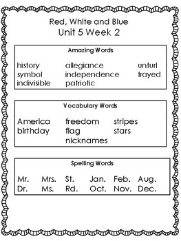 Red, White, and Blue:  Second Grade Reading Street Supplemental Packet