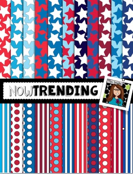 Red, White and Blue Stars and Stripes Digital Backgrounds