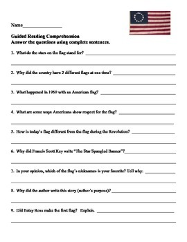 Red, White, and Blue:  Story of the American Flag 2nd Grade Reading Street