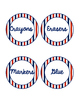 Red White and Blue Striped Classroom Labels & Student Numbers