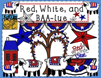 Red White and Blue Patriotic Sheep Clip Art Kid-E-Clips Personal Commercial