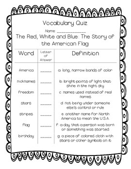 Red, White and Blue: The Story of the American Flag Vocabulary Quiz