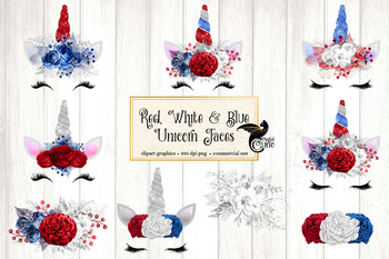 Red White and Blue Unicorn Face Clipart