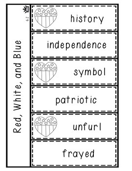 Red, White, and Blue vocabulary flap book