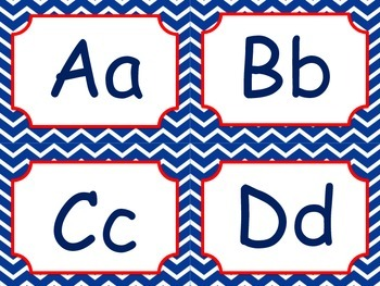 Red, White, and Navy Blue Nautical Word Wall words
