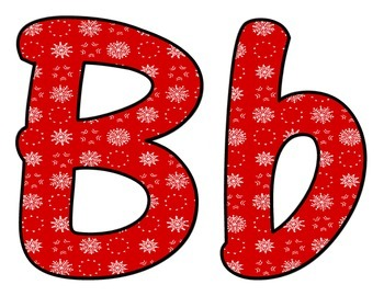 Red Winter Snowflake BB Letters