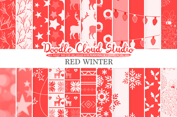 Red Winter digital paper, Scarlet Christmas Holiday patterns, Stars, Snow