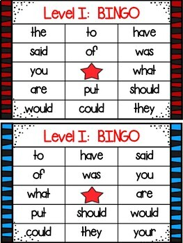 Project Read Support:  Red Word Bingo:Level I