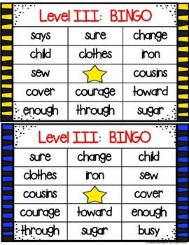 Red Word Bingo Level III