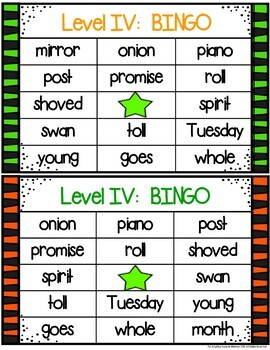 Red Word Bingo Level IV