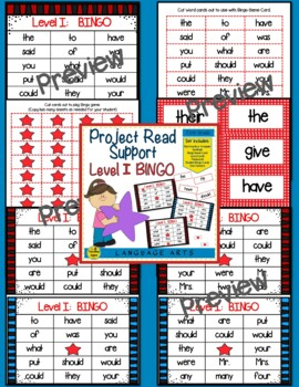 Project Read Support:  Red Word Bingo Levels I - V Bundle