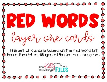 Red Word Cards - Layer One