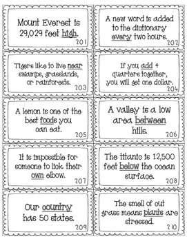 Red Word INFORMATIONAL Sentence Cards - Fry's Third Hundred