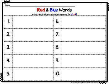 Project Read Support:  Red Word Level I Center & Activities