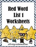 Orton Gillingham Red Word List 1 Practice Worksheets