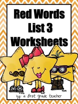 Orton Gillingham Red Word List 3 Worksheets