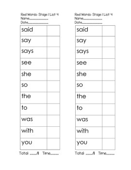 Red Word Lists