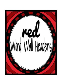 Red Word Wall Headers