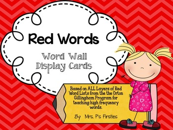 Red Word - Word Wall Display Cards
