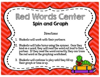 Red Words Layer Four Literacy Centers