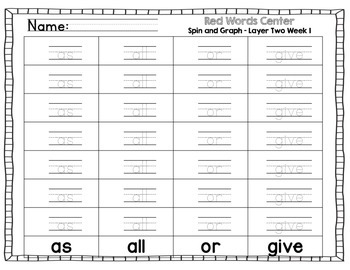 Red Words Layer Two Literacy Centers