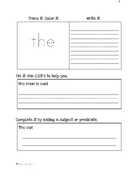Orton-Gillingham Red Words New Learning Sheets