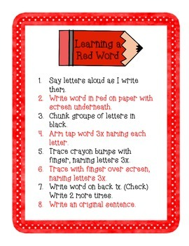 Red Words Practice (Orton Gillingham method)