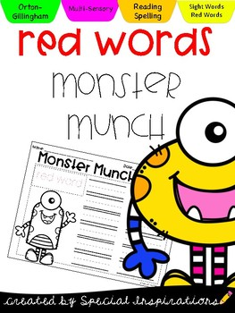 Red Words (Sight Words) Monster Munch *Orton-Gillingham*