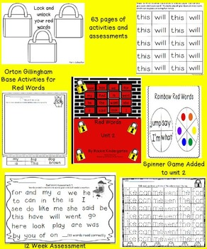 Kindergarten Red Words Unit 2