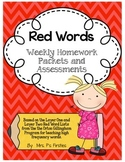 Red Words Weekly Homework and Assessments