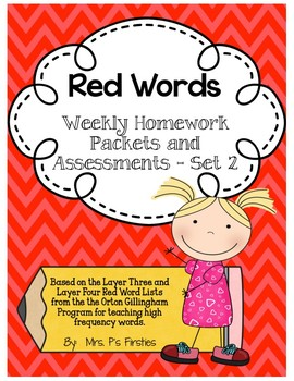 Red Words Weekly Homework and Assessments - Set 2