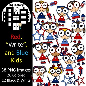 Red, Write, and Blue Kids Clip Art