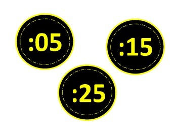 Red, Yellow and Black Clock Labels