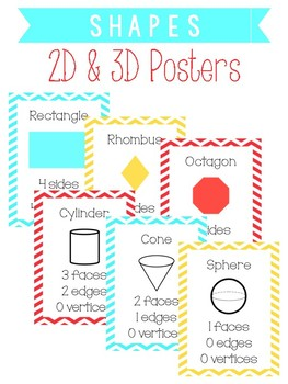 Red, Yellow, and Mint 2D and 3D Shapes Poster