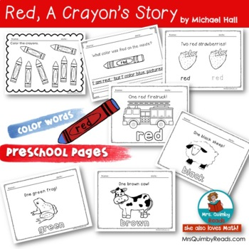 Red, a crayon's story - Reader Response Pages - Literacy and Math