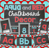 Red and Aqua Blue Chalkboard Themed Complete Classroom Decor Kit