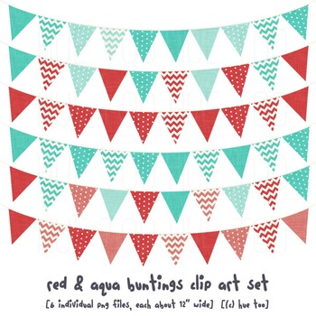 Red and Aqua Bunting Clip Art, Red and Blue Pennant Flags Clip Art