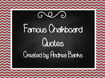 Red and Aqua Famous Chalkboard Quotes