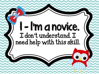 Red and Aqua Owl Learning Scale Freebie