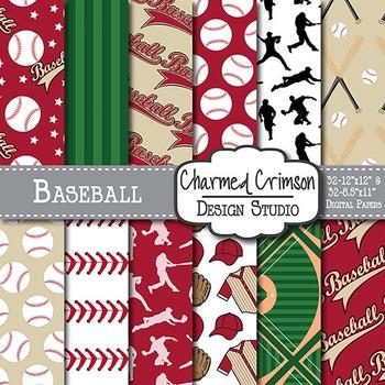 Red and Black Baseball Digital Paper 1459