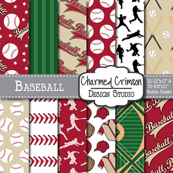 Red and Black Baseball Digital Paper 1459