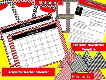 Red and Black Chevron Editable Classroom Decor Kit