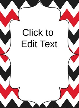 Red and Black Chevron Folder Cover or Classroom Poster (Editable)