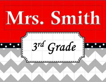 Chevron Teacher's Name Sign Red and Black