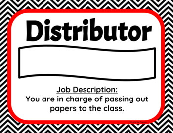 Red and Black Chevron Upper Elementary Classroom Jobs