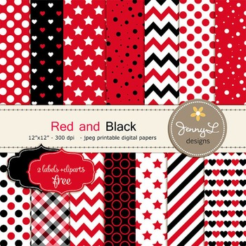 Red and Black Digital Papers