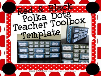 Red and Black Dots Teacher Toolbox Template - Editable