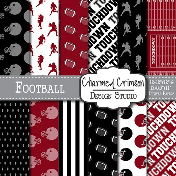 Red and Black Football Digital Paper 1415
