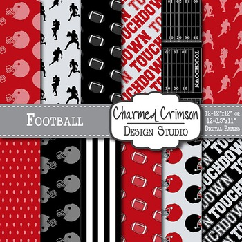Red and Black Football Digital Paper 1416