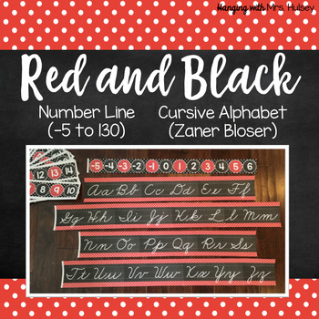 Red and Black: Number Line and Cursive Alphabet